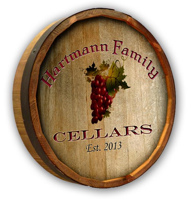Personalized Wine Grape Bunch Cellar Quarter Barrel Sign