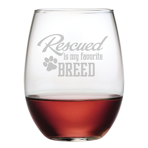 Rescued Is My Favorite Breed Stemless Wine Glasses (set of 4)