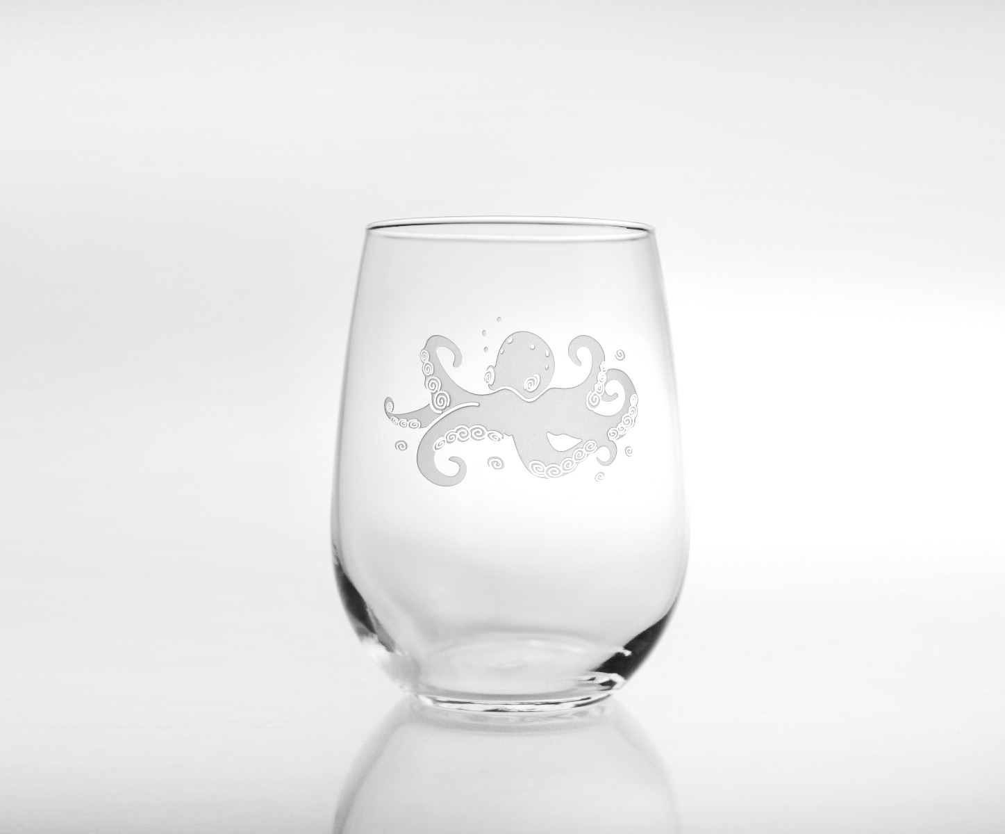 Octopus Stemless White Wine Glasses (Set of 4)