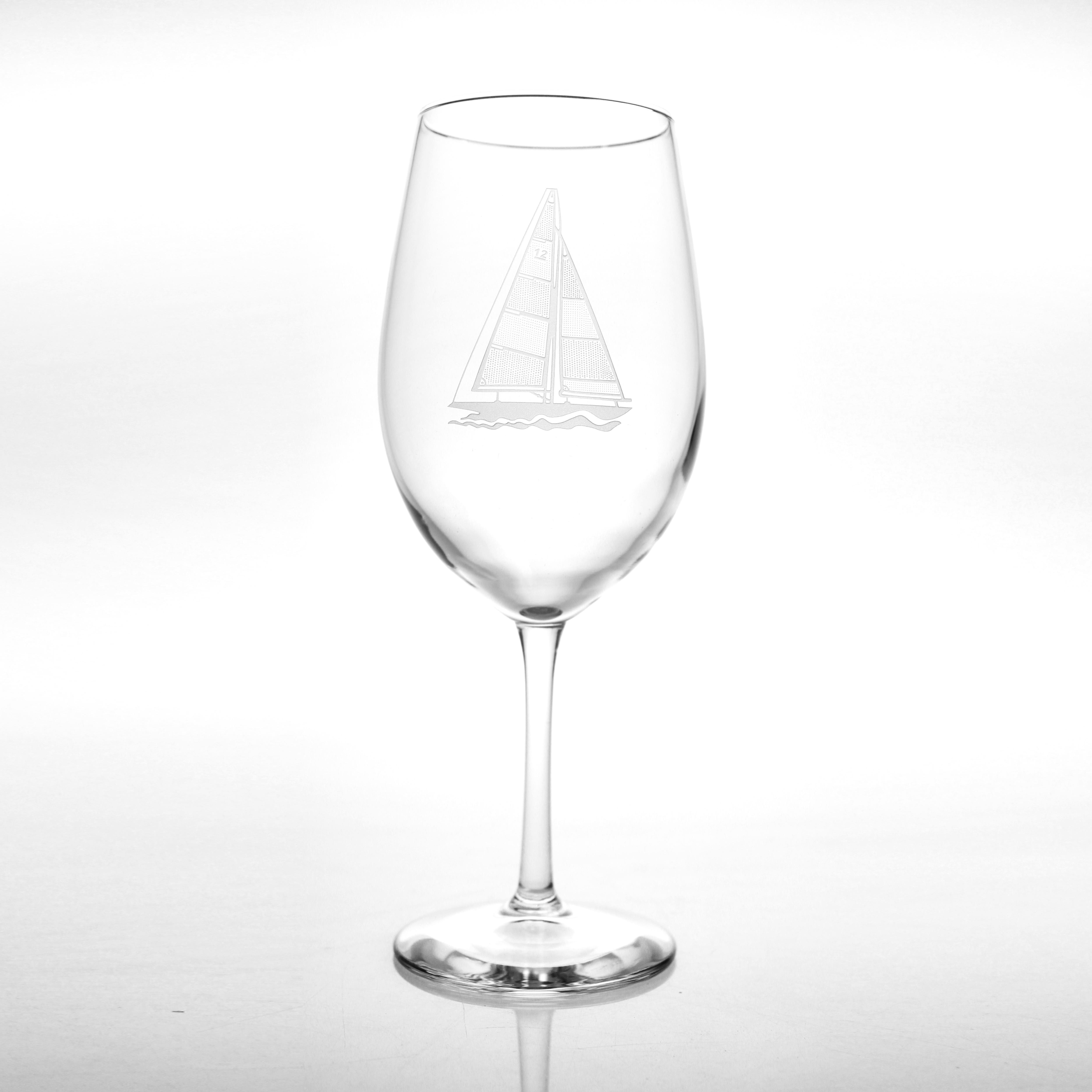 Sailboat White Wine Glasses Set of 4