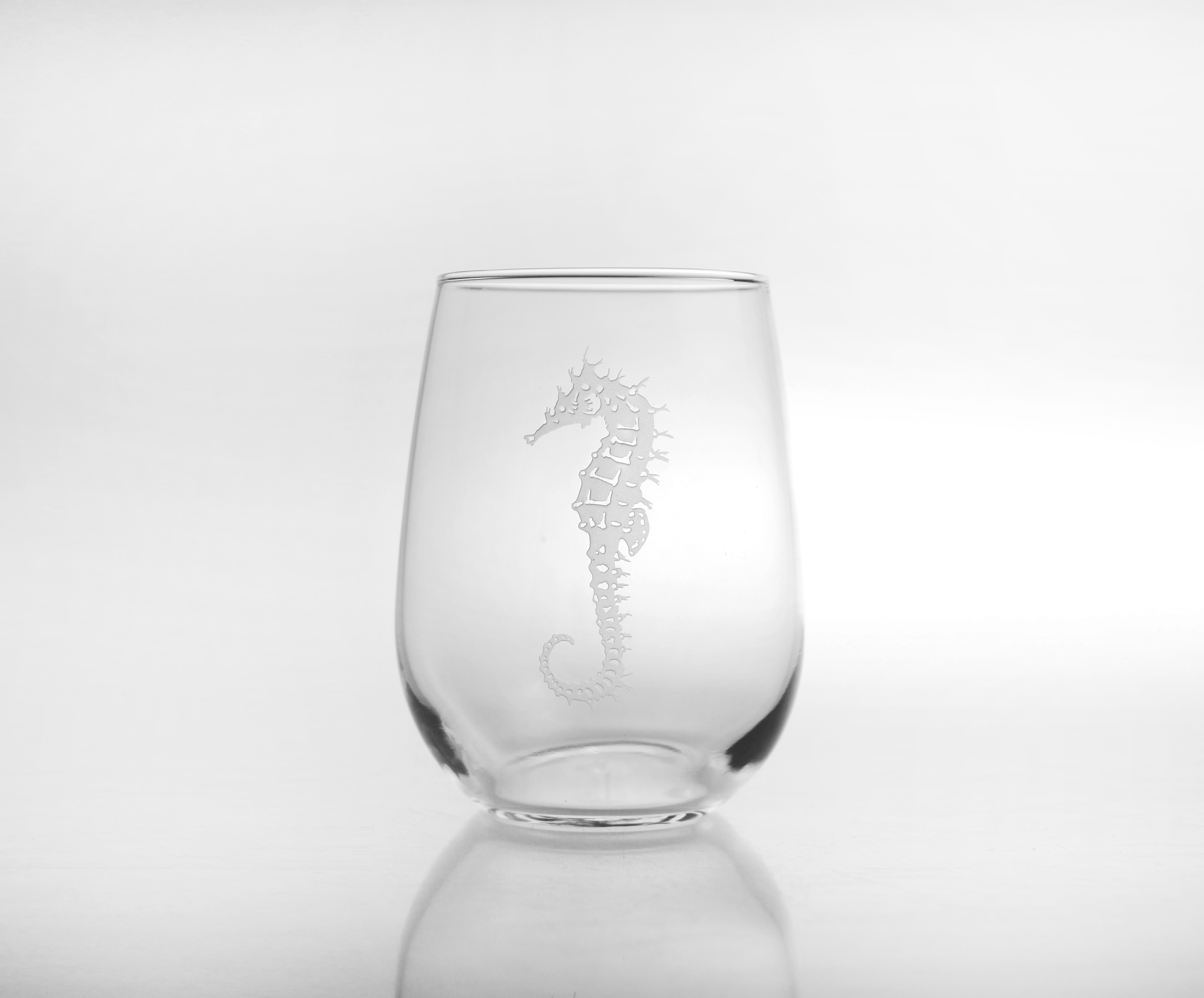 Seahorse Stemless White Wine Glasses (set of 4)