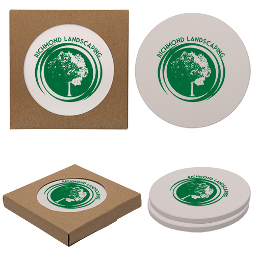 Corporate Logo Round Coasters with Cork Backing (100 sets of 2)