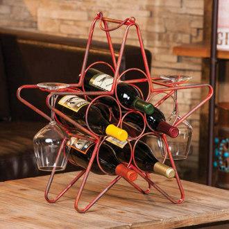 Rustic Red Star Table Top Wine Rack