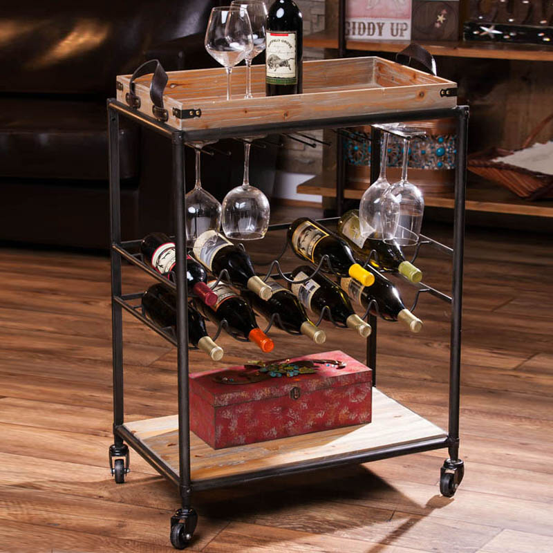 Wine Serving Cart with Wine Racks and Removable Tray on Casters