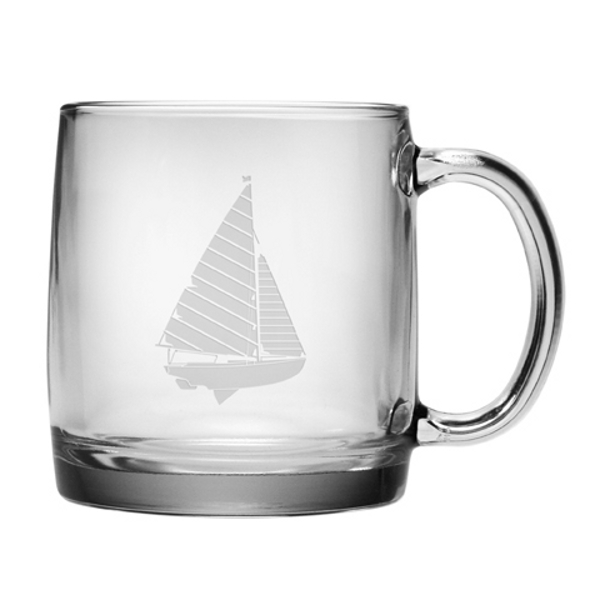 Sailboat Etched Coffee Mug Glass Set