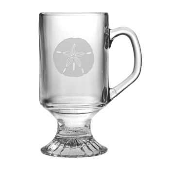 Sand Dollar Etched Footed Mug Glass Set