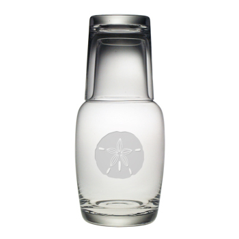 Sand Dollar Etched Water Carafe and Glass Set