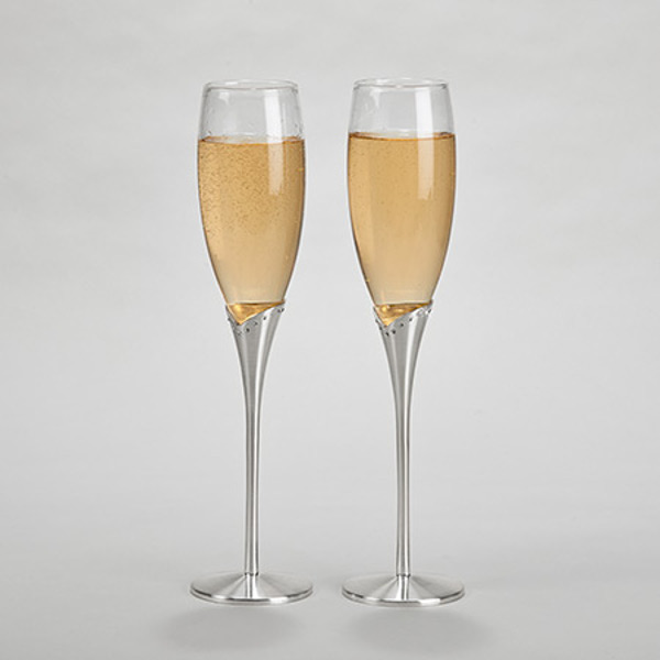 Glass Flutes with Crystals & Satin Stems (Set of 2)
