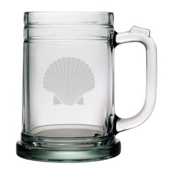 Scallop Shell Etched Tankard Beer Mug Set