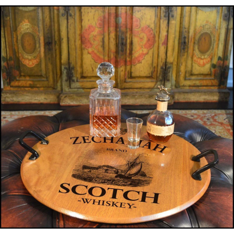 Personalized Scotch Barrel Head Serving Tray with Handles
