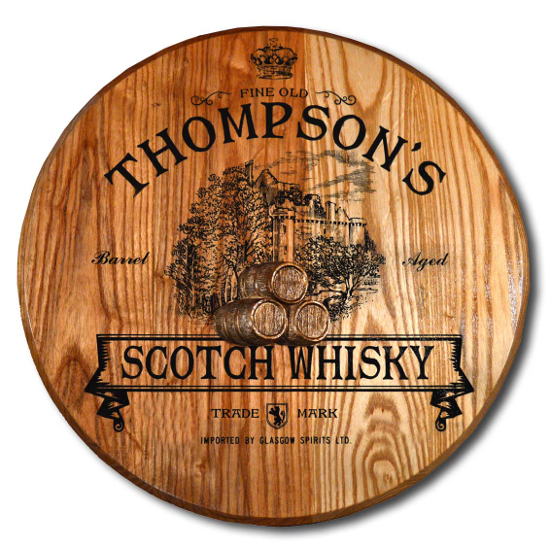 Personalized Scottish Castle Barrel Head Sign