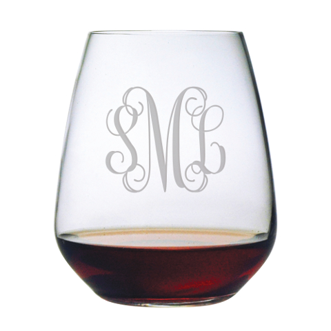 Elegant Scroll Monogram Stemless Wine Glasses (set of 4)