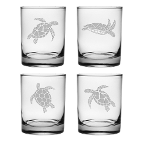 Sea Turtles Double On the Rocks Glasses (set of 4)