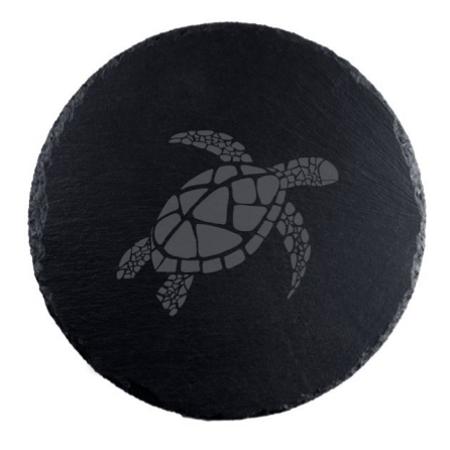 Sea Turtle Round Slate Serving Board