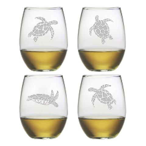 Sea Turtles Stemless Wine Glasses (set of 4)