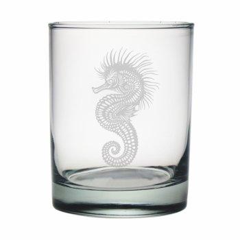Seahorse Etched Dor Glass Set
