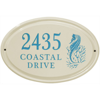 Seahorse Ceramic Oval Address Plaque