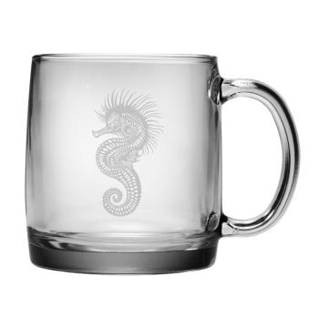Seahorse Etched Coffee Mug Glass Set