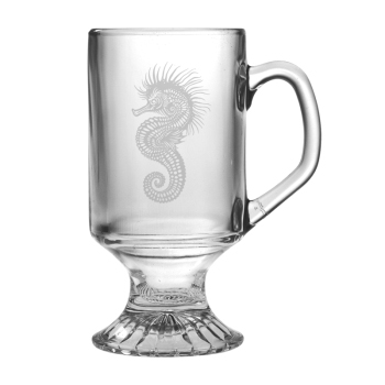 Seahorse Etched Footed Mug Glass Set