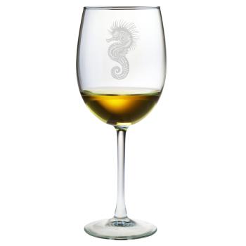 Seahorse Etched Stemmed Wine Glass Set