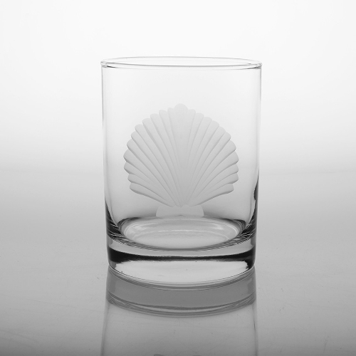 Engraved Seashell Double Old Fashioned Glasses (set of 4)