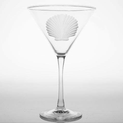 Engraved Seashell Martini Glasses (set of 4)