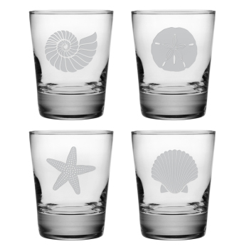 Seashore Etched Double Old Fashioned Glasses (set of 4)