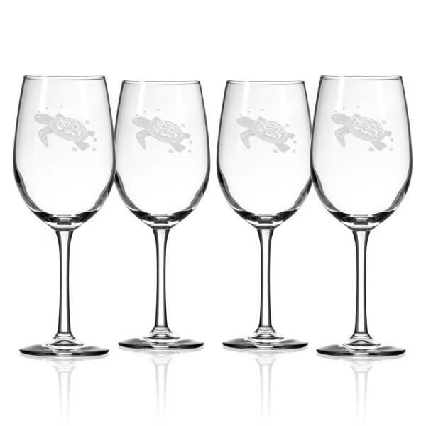 Sea Turtle White Wine Glasses  S/4