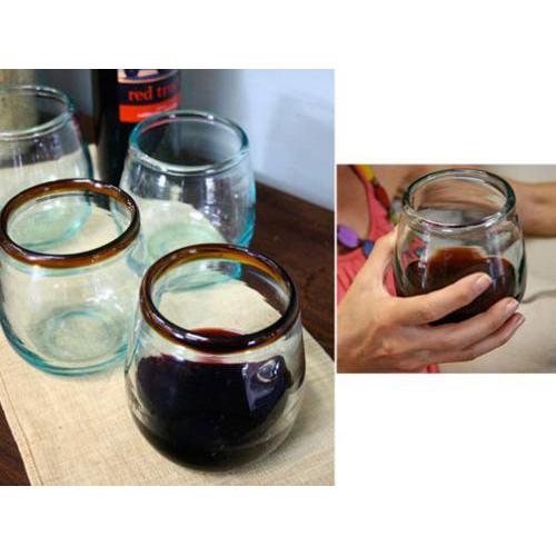 Amber Rim Stemless Wine Glasses (set of 6)
