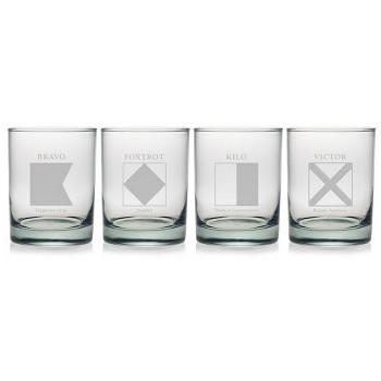 Signal Flag Dor Glass  Set Of 4