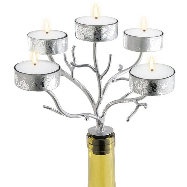 5-Tealight Silver Branches Wine Bottle Candelabra