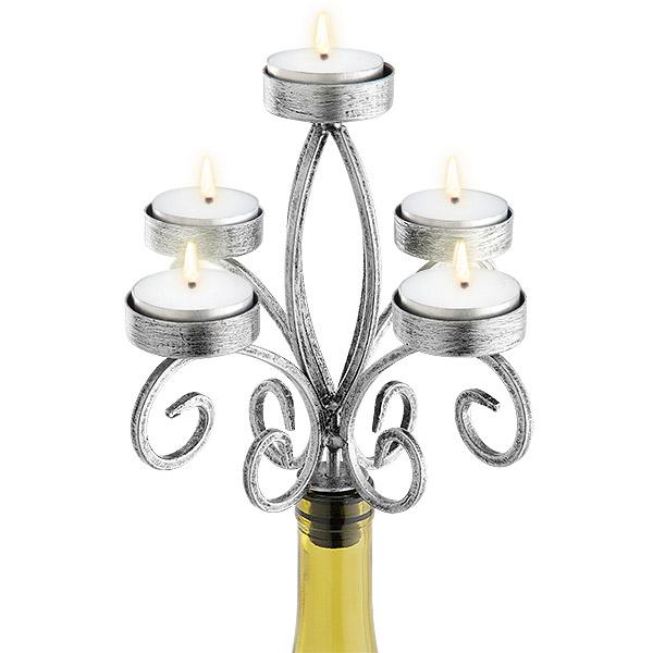 Silver Scroll 5-Tealight Candelabra