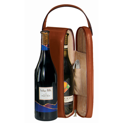 Royce Leather Luxury Suede Lined Single Wine Carrier, Tan