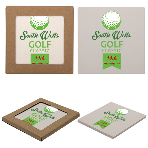 Company Logo Square Stone Coasters (set of 100)
