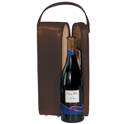 Luxury Suede Lined Single Wine Carrying case in Genuine Leather, Coco
