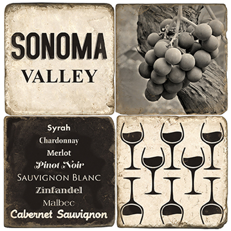 Sonoma Valley Marble Coasters (set of 4)