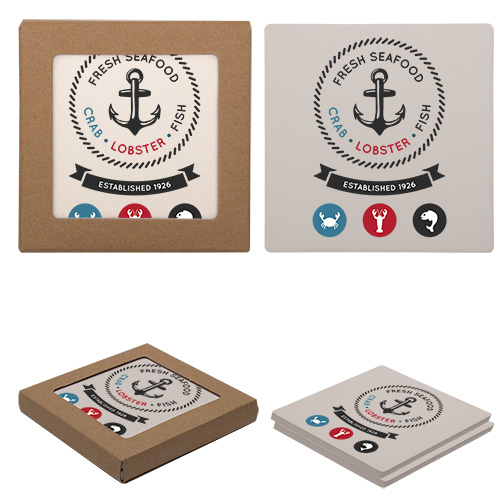 Corporate Logo Square Coasters with Cork Backing (100 sets of 2)