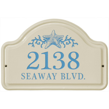 Starfish Ceramic Arched Address Plaque