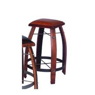 Wine Stave Stool with Leather Top 26 Inch Tan