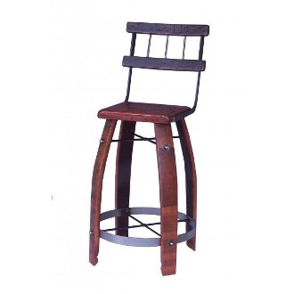 2 Day Designs Wood Stave Stool With Back