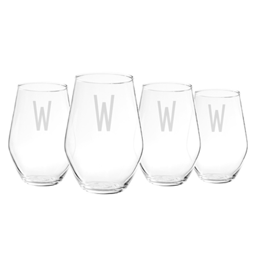 Personalized Stemless Large Wine Glasses (set of 4)