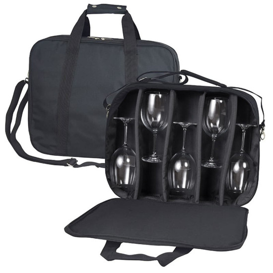 Stemware Tote with Padded Dividers, Black