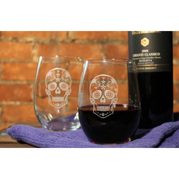 Sugar Skull Wine Tumbler 17oz set of 4