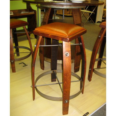 Wine Stave Stool with Leather Top 28 Inch Tan