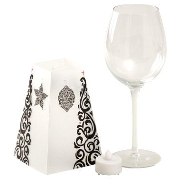 Wine Glass LED Votive Holder with Shade