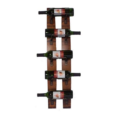 5 Bottle Wall Mounted Barrel Staves Rack