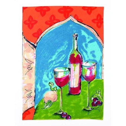 Red Wine Kitchen Towel By Julia Junkin