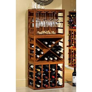 Cube Stack Wine Bottle & Stemware Rack Set