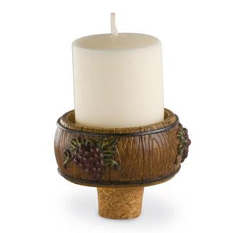 Candle Holder & Bottle Stopper Set - Wine Barrel (Votive)
