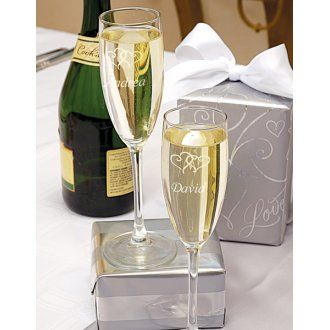 Double Hearts Toasting Flutes Personalized